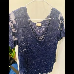 Women's Anthropologie blue lace top size medium
